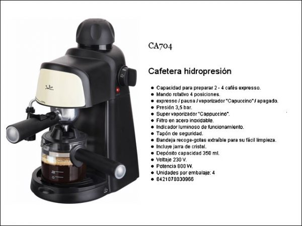 CAFETERA EXPRESS HIDROPRESION JATA CA704 800W