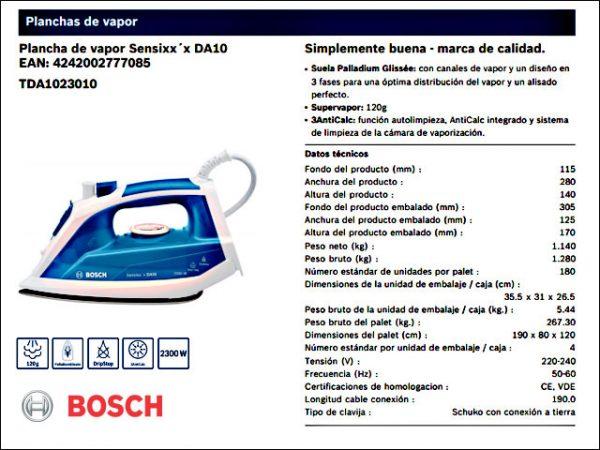 PLANCHA-VAPOR-BOSCH-TDA1023010-2.300W
