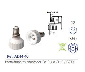 Portalámparas-adaptador.-De-E14-a-GU10-GZ10