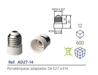 Portalámparas-adaptador.-De-E27-a-E14