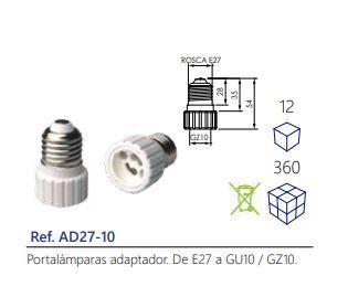 Portalámparas-adaptador.-De-E27-a-GU10-GZ10